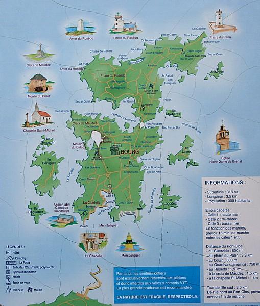 Bretagne Insel Île de Bréhat: Karte.