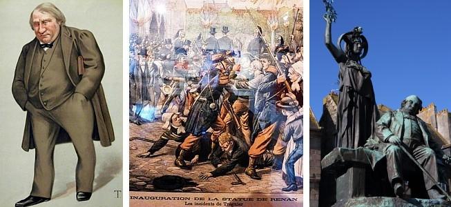 Bretagne Literatur: Ernest Renan - Karikatur Vanity Fair 1879, Einweihung des Denkmals von Ernest Renan in Tréguier 1903, Denkmal Ernest Renan Tréguier
