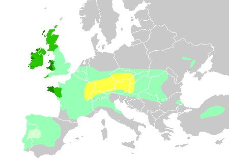 Die sechs keltischen nationen dunkelgrün heutige gebiete der